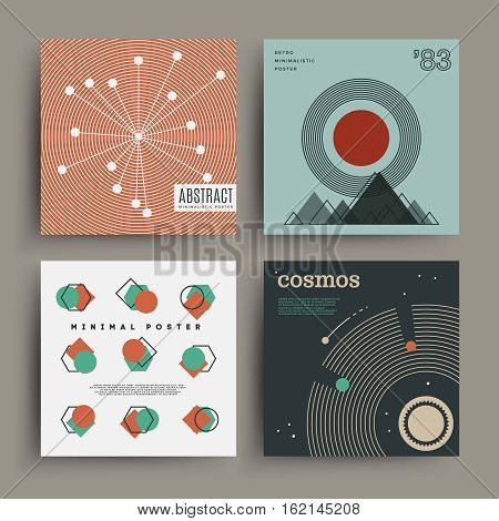 Retro futuristic minimalistic poster with geometric figures and muted colors