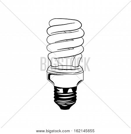 Energy saving light bulb glowing icon. fluorescent lamp. vector illustration isolated on white background