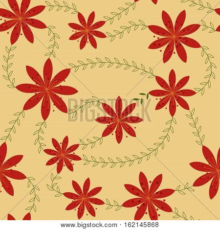 Vector red flowers with stamens pattern retro