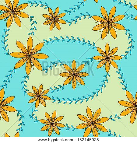 Vector red flowers with stamens pattern colorful