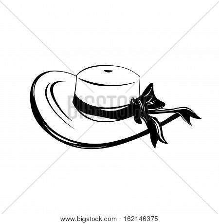 Vintage wide-brimmed woman hat with bow. Vector illustration isolated on white bacjground