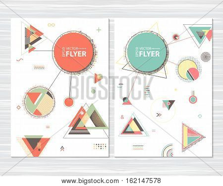 Trendy abstract geometric cards. Hipster pattern with chaotic triangular and polygonal shapes. Flat design layout template for placard flyer poster or cover presentation