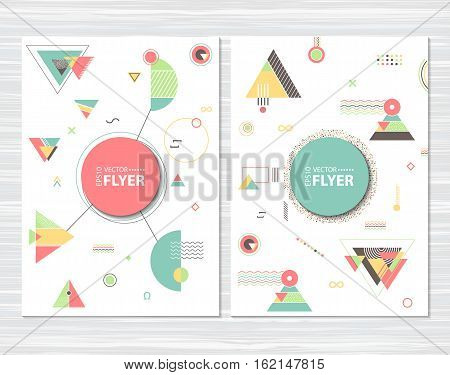 Trendy abstract geometric cards a4 size. Hipster pattern with chaotic triangular and polygonal shapes. Flat design layout template for placard flyer poster or cover presentation