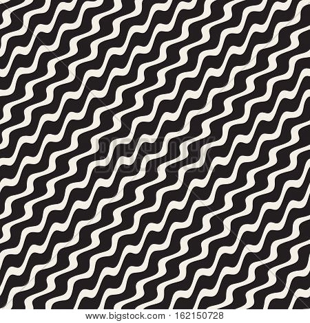 Wavy Ripple Stripes. Abstract Geometric Background Design. Vector Seamless Black and White Pattern.