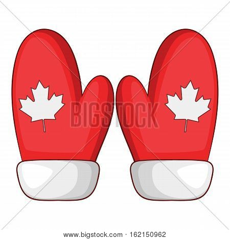 Red mittens with a maple leaf icon. Cartoon illustration of red mittens with a maple leaf vector icon for web