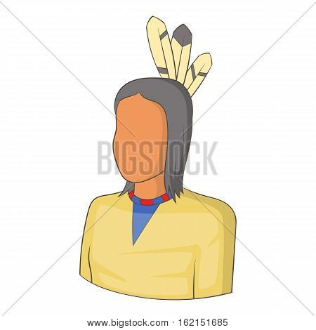 Native Indian man icon. Cartoon illustration of native indian man vector icon for web