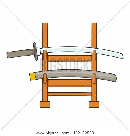 Katana on a wooden stand icon. Cartoon illustration of katana on a wooden stand vector icon for web