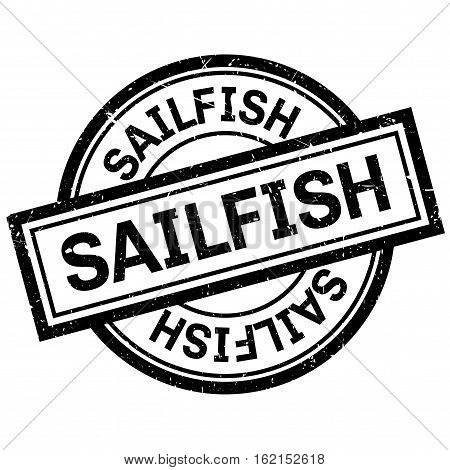 Sailfish rubber stamp. Grunge design with dust scratches. Effects can be easily removed for a clean, crisp look. Color is easily changed.