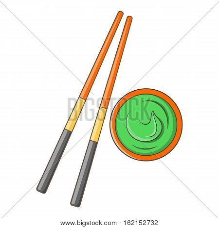 Wooden chopsticks and wasabi icon. Cartoon illustration of wooden chopsticks and wasabi vector icon for web