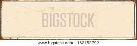 Vintage blank metal sign with room for text or graphics. Vector EPS 10.