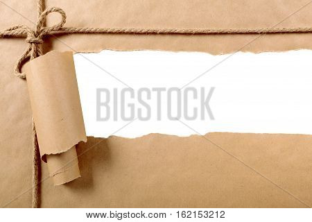 Torn paper parcel strip with white background