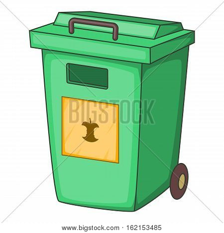 Green garbage container icon. Cartoon illustration of garbage container vector icon for web
