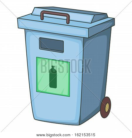 Blue bin garbage container for plastic waste icon. Cartoon illustration of blue bin garbage container for plastic waste vector icon for web