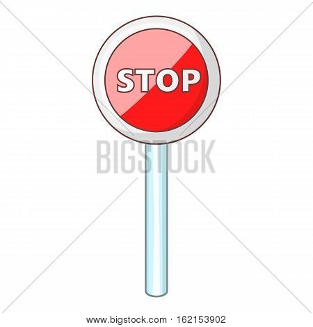 Red stop sign icon. Cartoon illustration of red stop sign vector icon for web