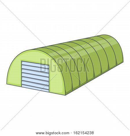 Green semicircular hangar icon. Cartoon illustration of green semicircular hangar vector icon for web