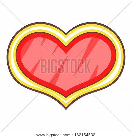 Red shield in the shape of heart icon. Cartoon illustration of shield in the shape of heart vector icon for web