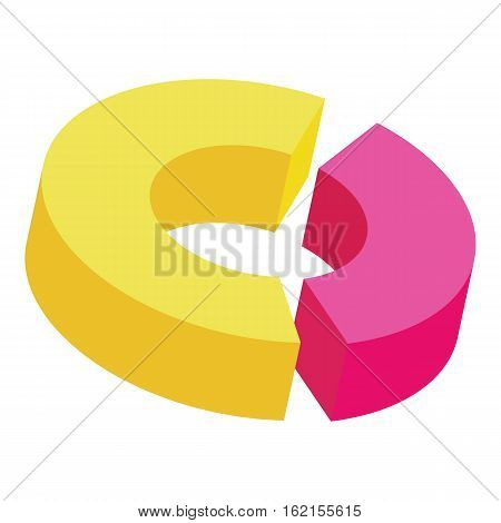 Circle divided into two parts icon. Cartoon illustration of circle divided into two parts vector icon for web