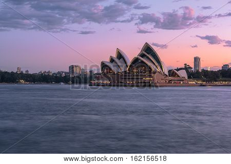 Sydney OPera House Sydney Australia at sunset at sunset.DEC 19,2016 Sydney Opera House is modern building, well known worldwide.