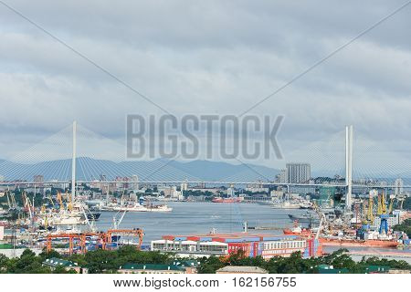 Russia, the bridge across the Golden horn bay in Vladivostok in sunny day