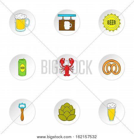 Barley drink icons set. Cartoon illustration of 9 barley drink vector icons for web