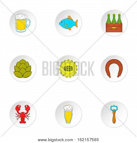Ale icons set. Cartoon illustration of 9 ale vector icons for web