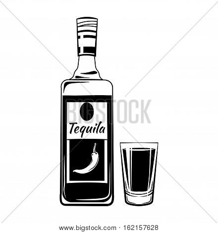 Tequila Shot Glass and Botlle. Alcohol Drink Vintage vector Elements. Isolated On White Background