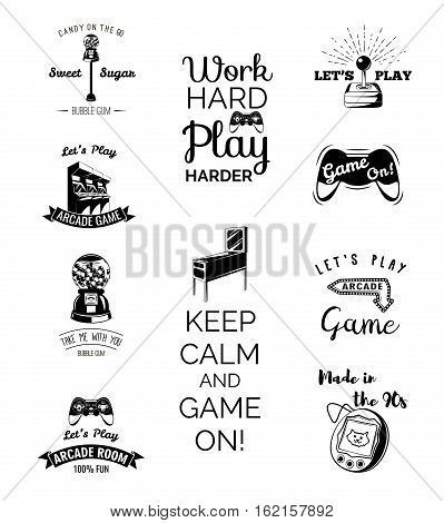 Vector video games labels set. Arcade game room. Let s play videogame. Gum machine. gumball. Arcade. Video games and Entertainment. Slot Machines. Set of Labels and Badges.