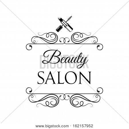 Beauty Salon Label. Mascara for Eyelashes lipstick. Eye Makeup. Badge Vector Illustration. Isolated On White Background