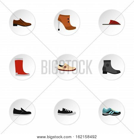 Kind of shoes icons set. Flat illustration of 9 kind of shoes vector icons for web