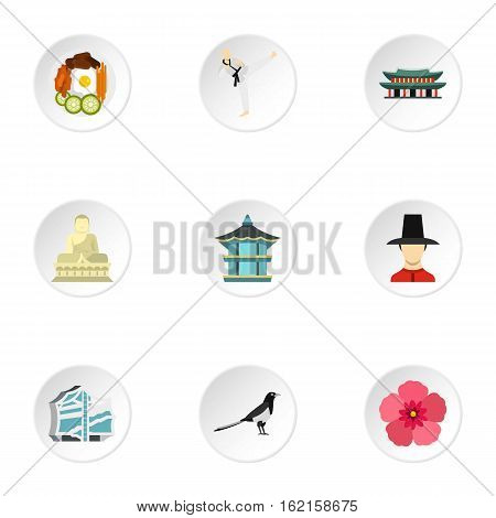 South Korea icons set. Flat illustration of 9 South Korea vector icons for web