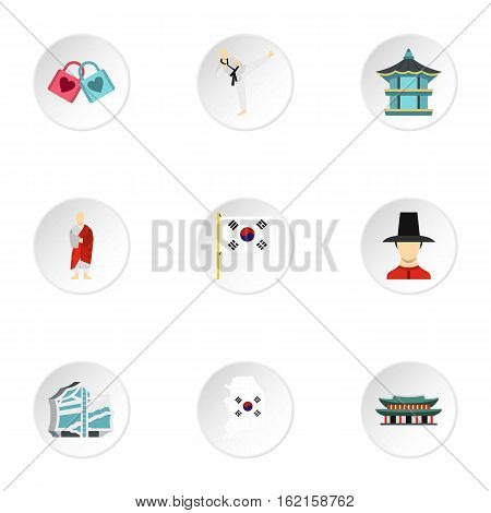 South Korea republic icons set. Flat illustration of 9 South Korea republic vector icons for web