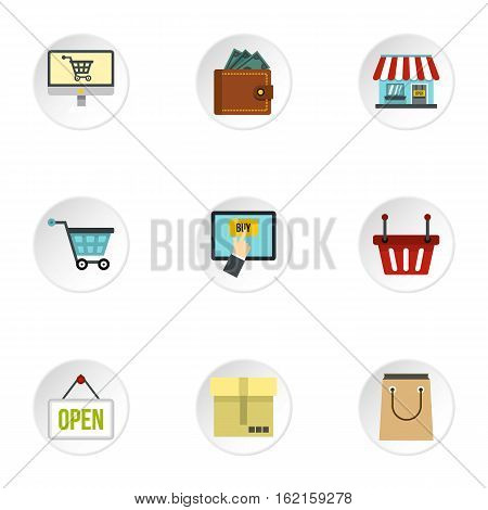 Purchase icons set. Flat illustration of 9 purchase vector icons for web