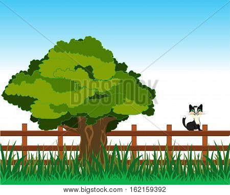 Year landscape with big tree and fence