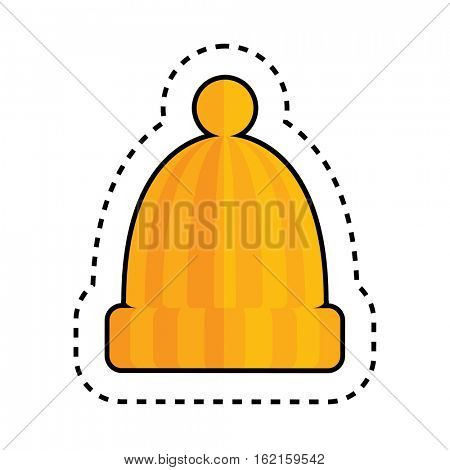 Orange Hat with Pom Pom Isolated on White Background. Textile Patch.