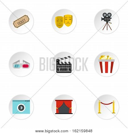 Cinema icons set. Flat illustration of 9 cinema vector icons for web