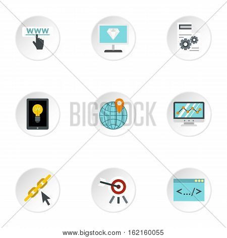 SEO optimization icons set. Flat illustration of 9 SEO optimization vector icons for web
