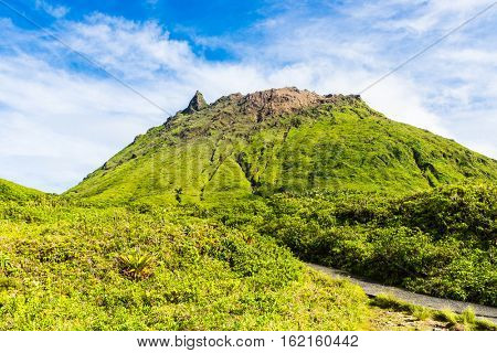 Soufriere volcano is the highest mountain in Guadeloupe, French department in Caribbean