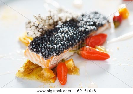 salmon steak with tapioca
