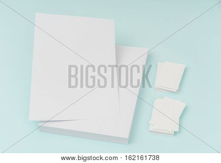 Blank flyer poster, brochure mockup,A4, US-Letter, with business card  on blue background
