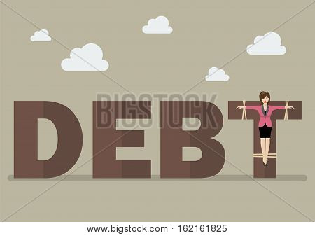 Business woman crucified on debt. Business concept