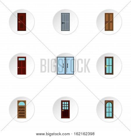 Exterior doors icons set. Flat illustration of 9 exterior doors vector icons for web