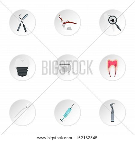 Dentistry icons set. Flat illustration of 9 dentistry vector icons for web