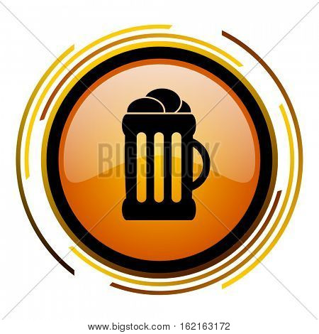 Pint of beer sign vector icon. Modern design round orange button isolated on white square background for web and application designers in eps10.