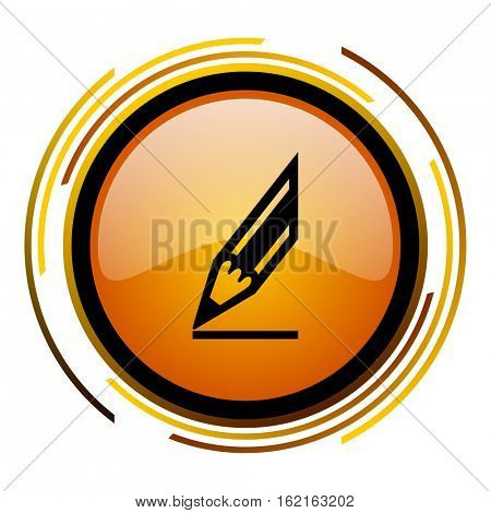 Draw pencil sign vector icon. Modern design round orange button isolated on white square background for web and application designers in eps10.