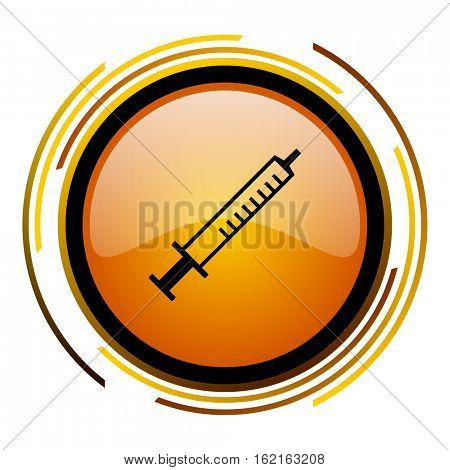 Medical syringe sign vector icon. Modern design round orange button isolated on white square background for web and application designers in eps10.
