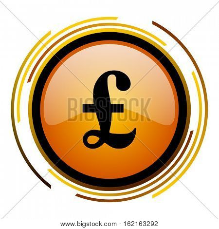 British currency pound sign vector icon. Modern design round orange button isolated on white square background for web and application designers in eps10.