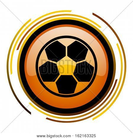 Fotball soccer sign vector icon. Modern design round orange button isolated on white square background for web and application designers in eps10.