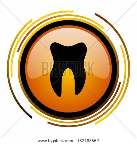 Teeth sign vector icon. Modern design round orange button isolated on white square background for web and application designers in eps10.