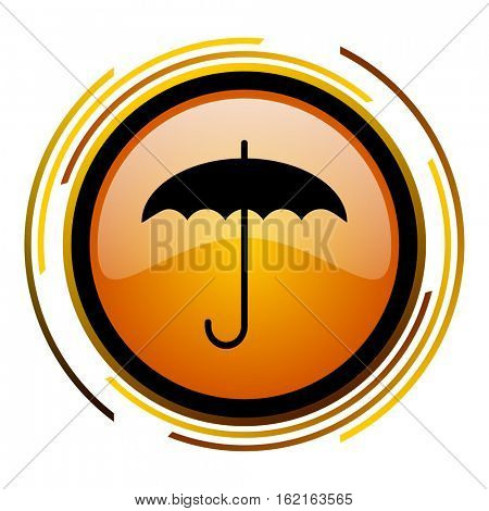 Umbrella sign vector icon. Modern design round orange button isolated on white square background for web and application designers in eps10.