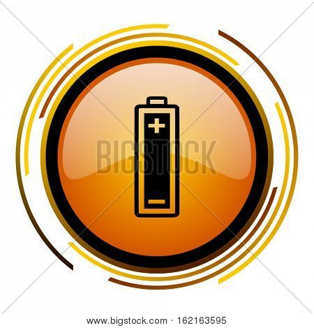 Battery sign vector icon. Modern design round orange button isolated on white square background for web and application designers in eps10.